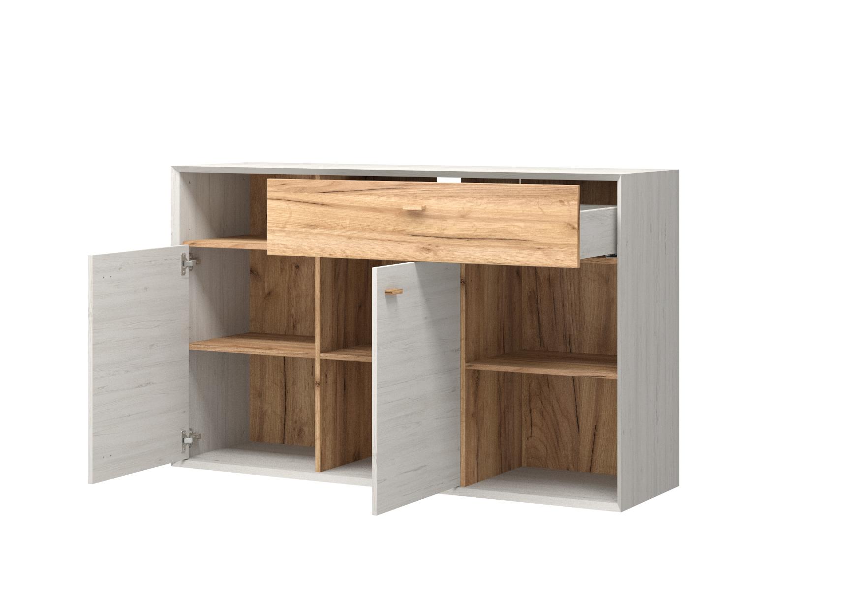 sideboard f hr pinie wei nb navarra eiche nb kommode schrank anrichte m bel wohnen. Black Bedroom Furniture Sets. Home Design Ideas