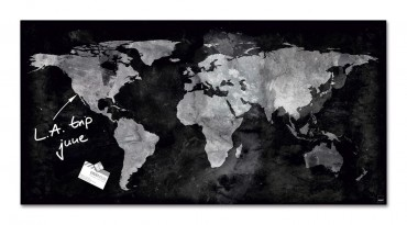 B-Ware Sigel Glas Magnetboard artverum World Map GL270 Magnet Tafel Board  – Bild 1