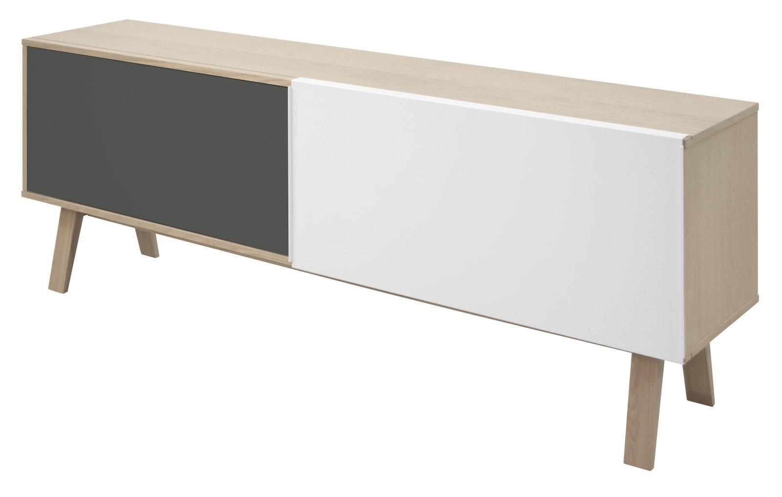 sideboard miso in stahlgrau und eichenfurnier kommode. Black Bedroom Furniture Sets. Home Design Ideas