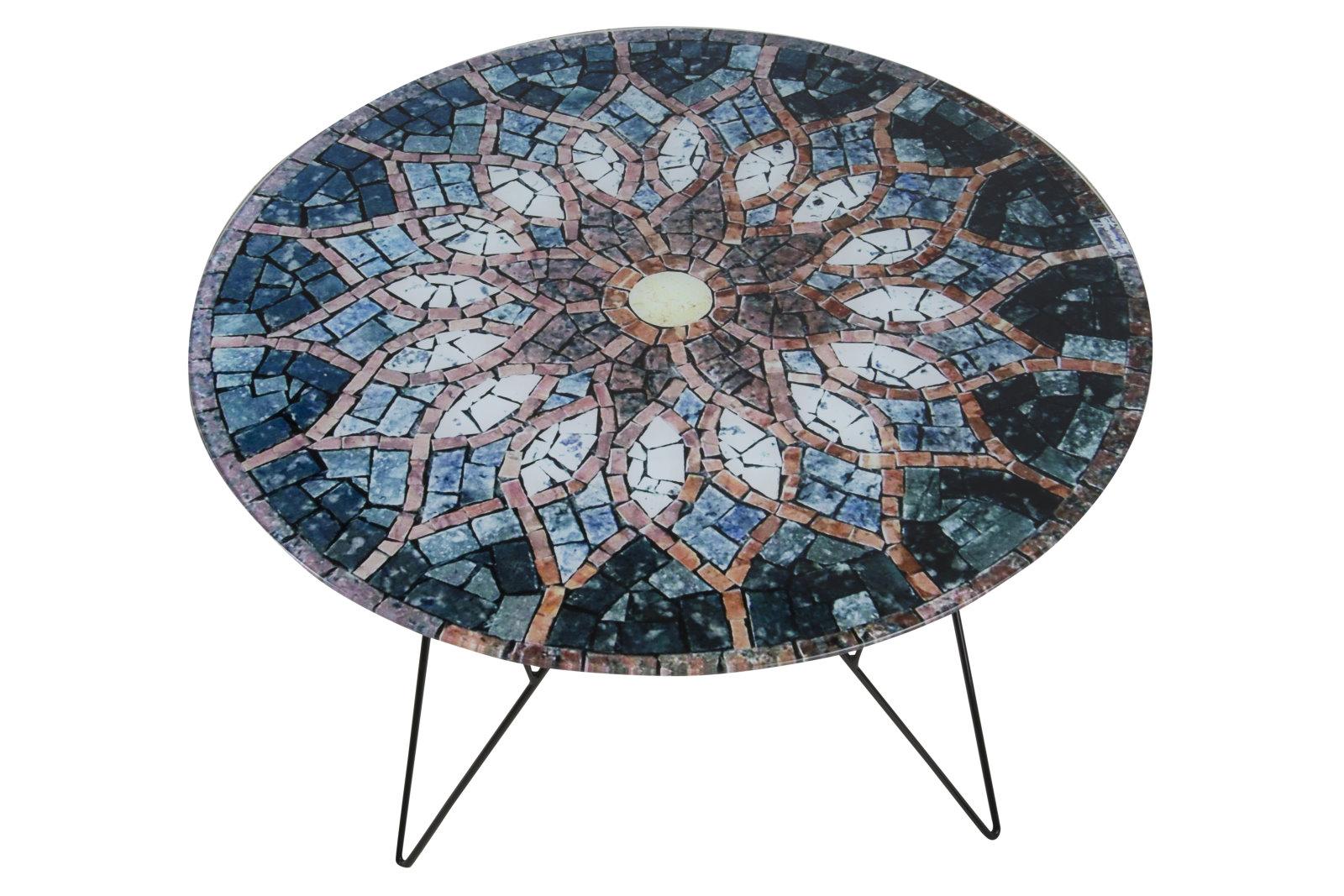 Pkline couchtisch plymoth aus glas mit mosaikprint for Wohnzimmertisch aus glas
