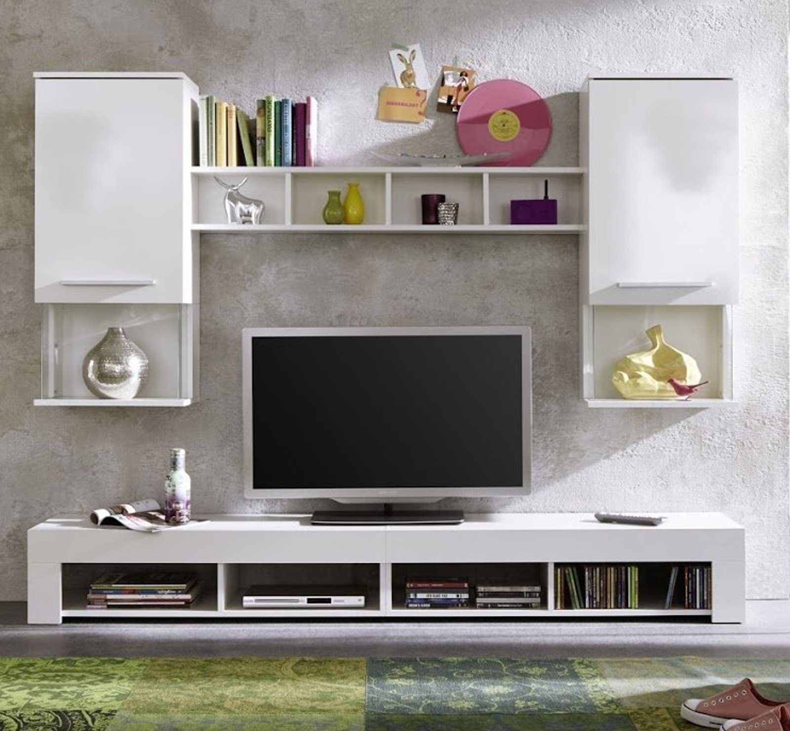 wohnwand anbauwand wohnzimmer tv schrank schrankwand wohnwand hochglanz wei m bel wohnen. Black Bedroom Furniture Sets. Home Design Ideas
