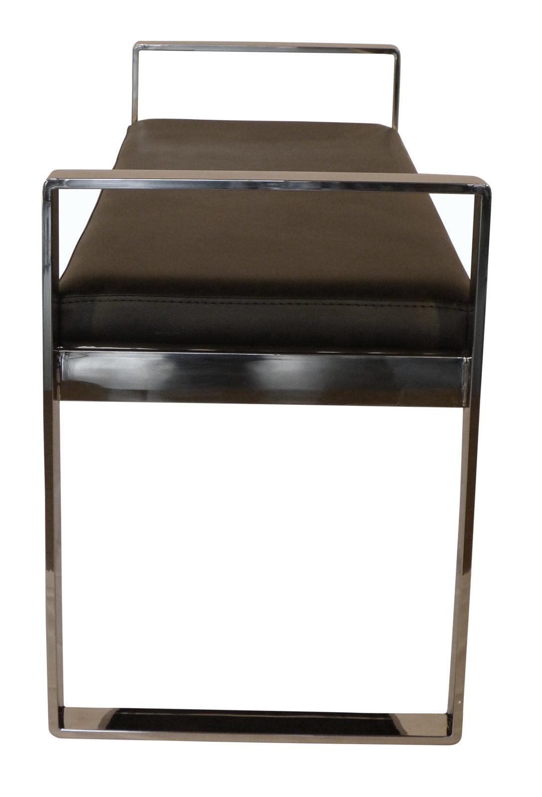 badly bitten design leder sitzbank houston flur diele bank polsterbank verchromt ebay. Black Bedroom Furniture Sets. Home Design Ideas