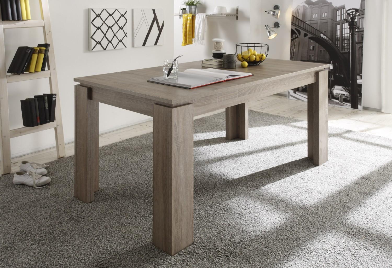 Tisch universal eiche s gerau dunkel esstisch ausziehbar for Esstisch eiche dunkel