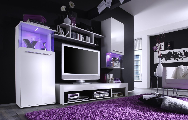 Anbauwand PUNCH Weiss Schwarz Beleuchtung Wohnwand Wohnzimmer Schrank