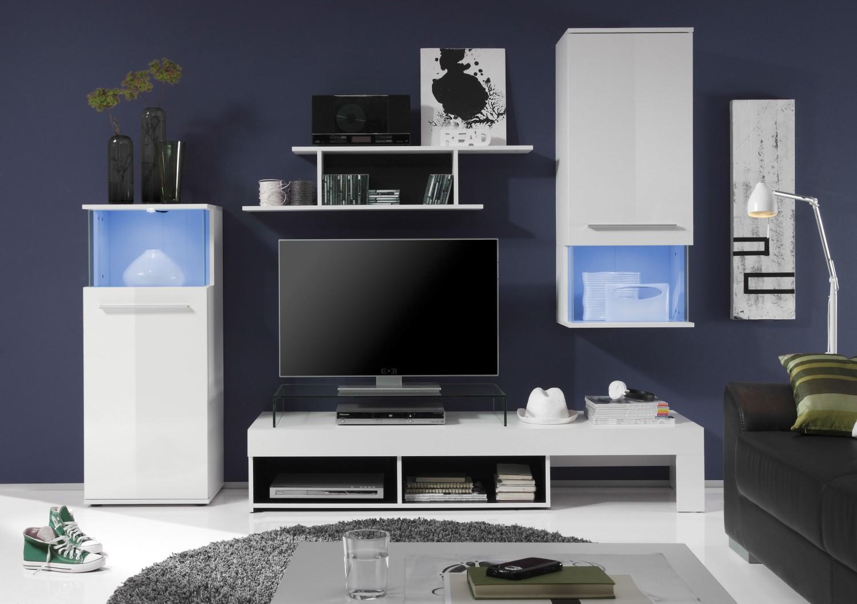 Anbauwand PUNCH Weiss Schwarz Beleuchtung Wohnwand Wohnzimmer Schrank Bild 3