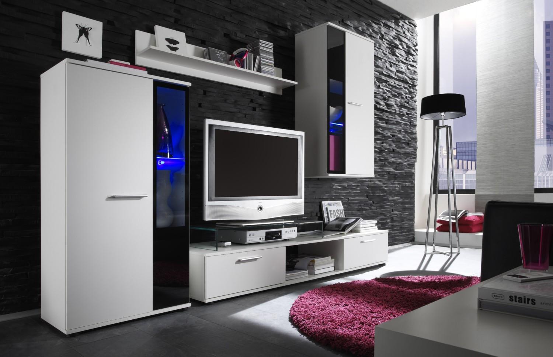 Anbauwand SALSA Weiss Schwarz Beleuchtung Wohnwand Wohnzimmer Schrank