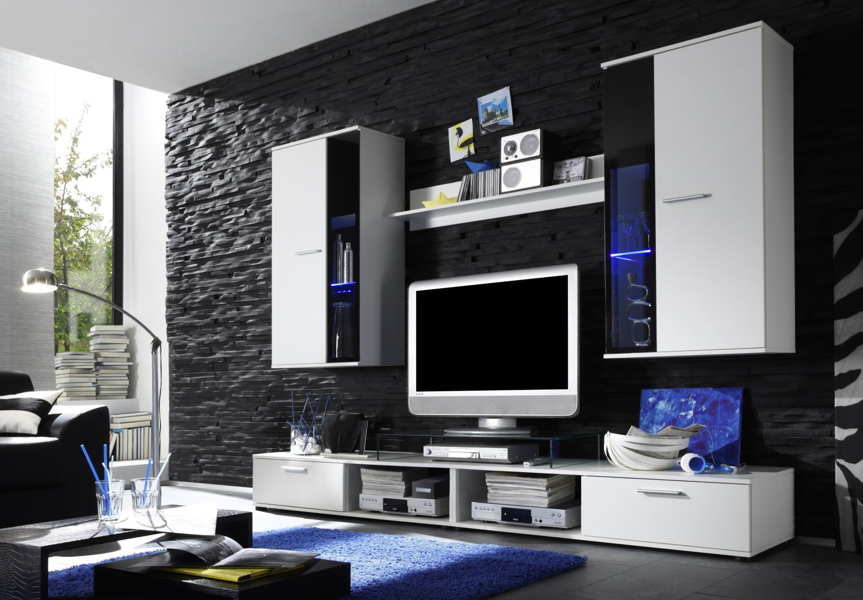 Anbauwand SALSA Weiss Schwarz Anauwand Beleuchtung Wohnwand Wohnzimmer Schrank