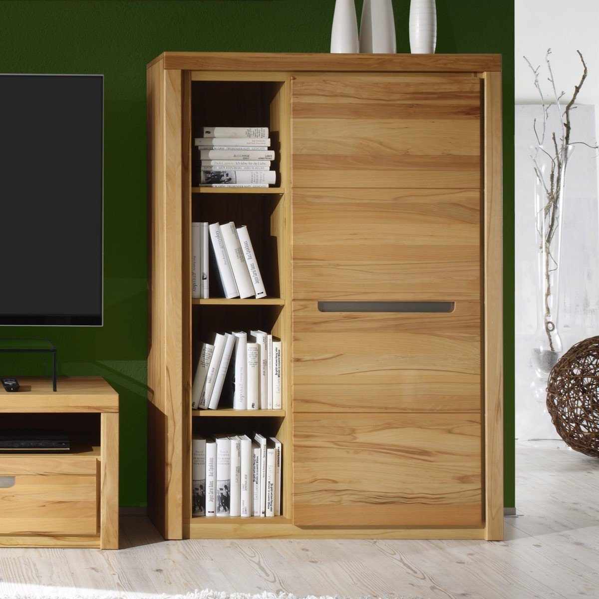 kommode zino kernbuche massiv highboard sideboard. Black Bedroom Furniture Sets. Home Design Ideas
