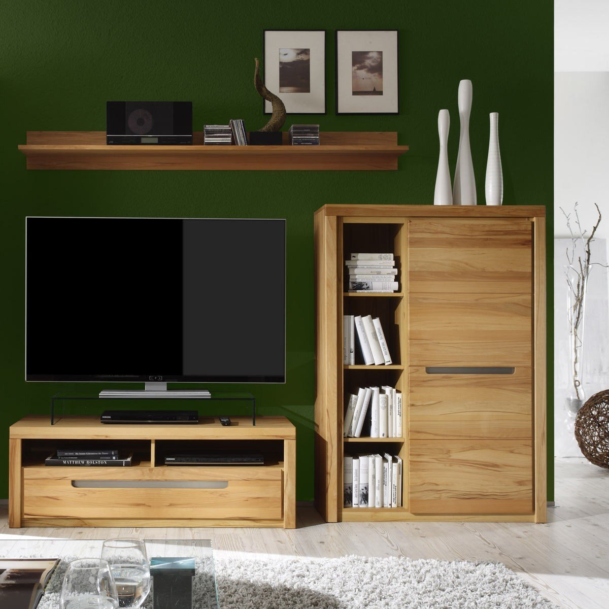 kommode zino kernbuche massiv highboard sideboard wohnzimmer schrank anrichte m bel wohnen. Black Bedroom Furniture Sets. Home Design Ideas
