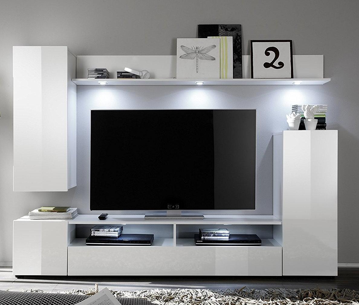 Wunderbar Anbauwand Dos Weiß Hochglanz Wohnwand Wohnzimmer Schrank Schrankwand