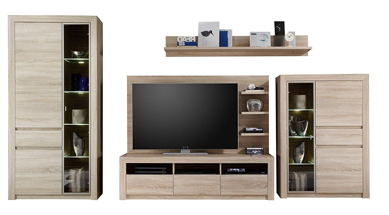 anbauwand sevilla eiche sonoma beleuchtung glas wohnwand schrank schrankwand ebay. Black Bedroom Furniture Sets. Home Design Ideas
