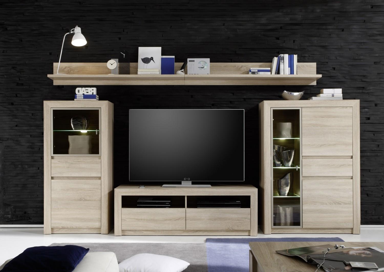 anbauwand sevilla eiche sonoma beleuchtung glas wohnwand schrank schrankwand 4251014141586 ebay. Black Bedroom Furniture Sets. Home Design Ideas
