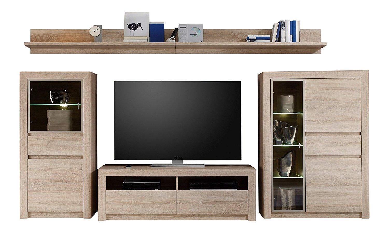 anbauwand sevilla eiche sonoma beleuchtung glas wohnwand schrank schrankwand m bel wohnen. Black Bedroom Furniture Sets. Home Design Ideas