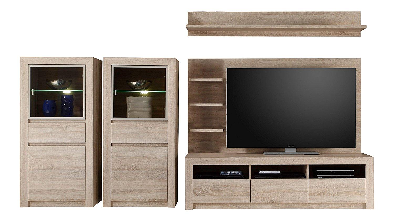 anbauwand sevilla eiche sonoma beleuchtung glas wohnwand. Black Bedroom Furniture Sets. Home Design Ideas