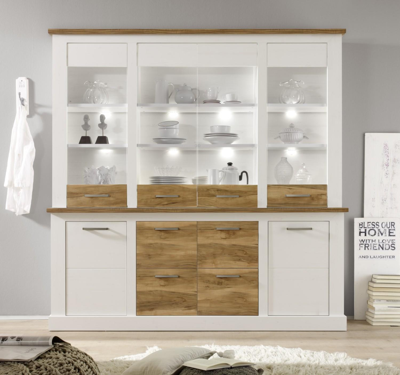 Speisekombinaion Besteht Aus Sideboard Mit Aufsatzvitrine * Bietet Platz  Für Geschirr Und Dekoration * Moderne Möbel Im Landhausstil